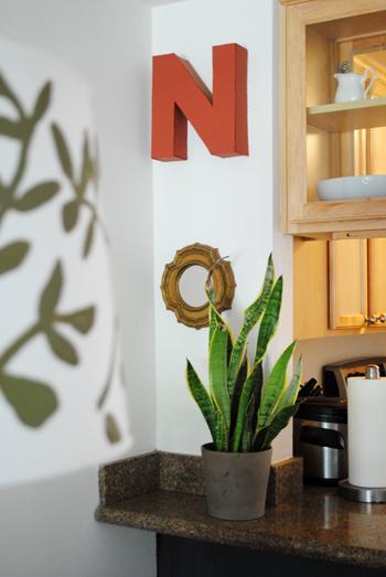 dining room vignette cardboard letter