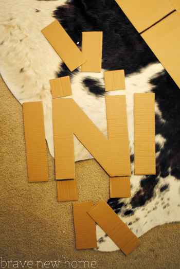 carboard letter cut pieces