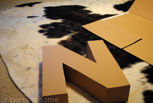 carboard letter unfinished