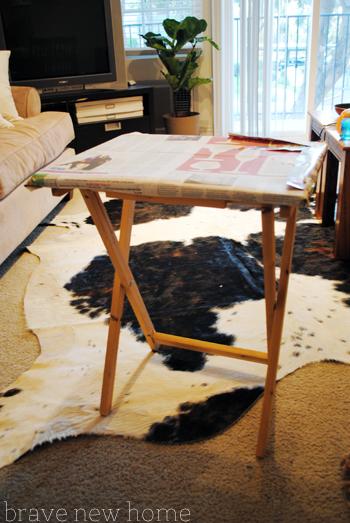 tv tray spray painting prep