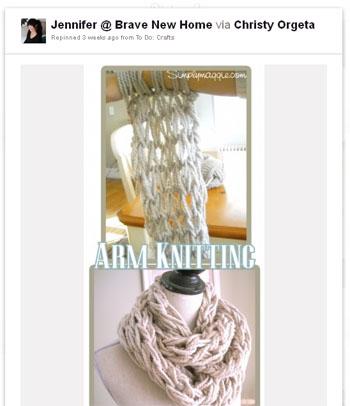 arm knitting pin