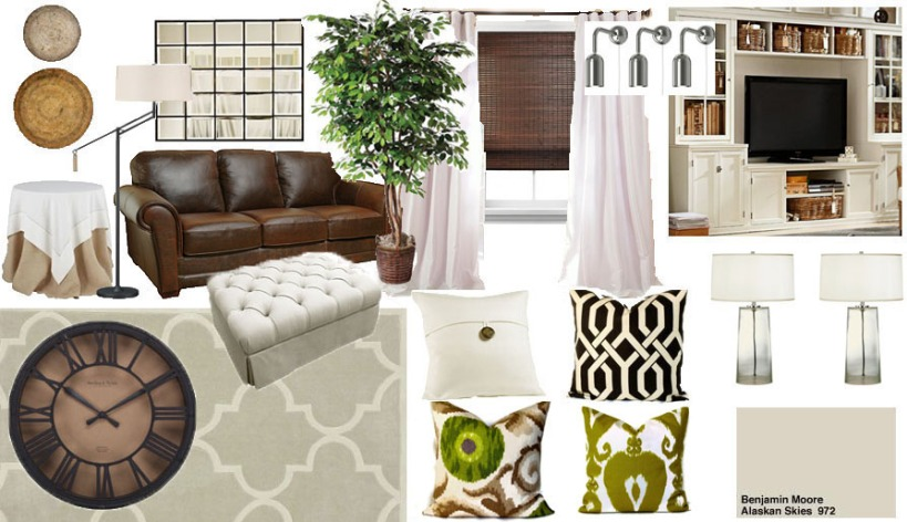 mood board white and green living room