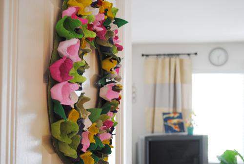egg carton wreath indoors
