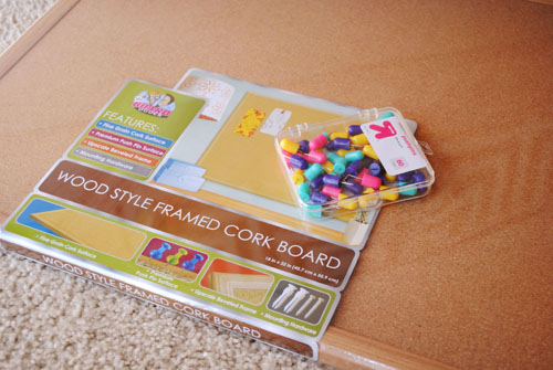 materials for covered corkboard child art display
