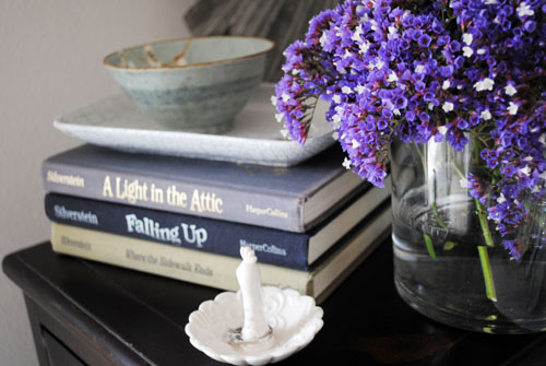 nightstand styling purple flower asian bowl books