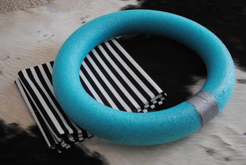 duck tape pool noodle into a circle