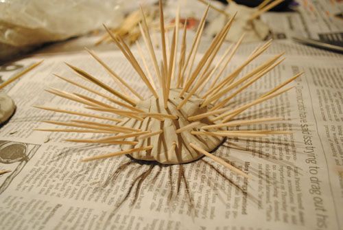 sea urchin with toothpicks