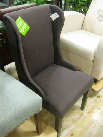 grey wingback chair