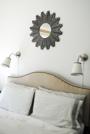 over the bed lighting. Pair Of Recovered Wall Lamps Over The Bed Lighting